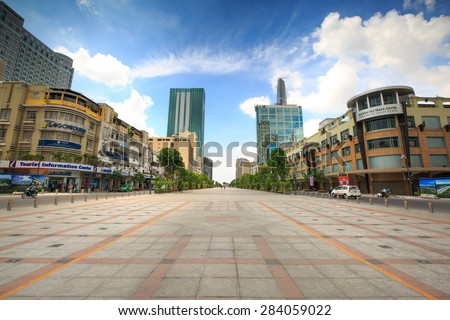 Ho Chi Minh City, Vietnam - May 25, 2015: Nguyen Hue street walking with many luxurious commercial centers and modern office buildings. it was a center of major companies leading regional and world