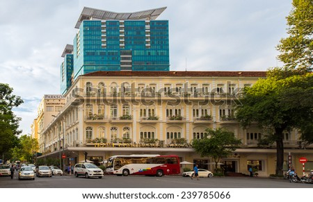 HO CHI MINH CITY / VIETNAM - NOV 30 2014: Hotel Continental and Vincom Center - modern and classic building in Ho Chi Minh City, Dong Khoi Street, Ho Chi Minh City, Vietnam. - stock photo