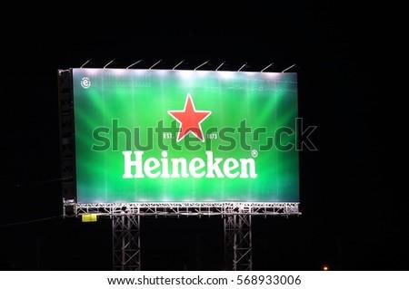 HO CHI MINH CITY VIETNAM - NOVEMBER 26, 2016: Heineken International. Heineken is a Dutch brewing company founded in 1864 by Gerard Adriaan Heineken in Amsterdam.