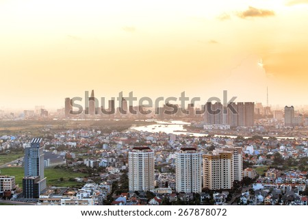 HO CHI MINH CITY / VIETNAM - November 16, 2014 : Saigon look on the east , west , south , north , all ideal , attractive colors , the lights at night , making extra shimmer on the image . - stock photo