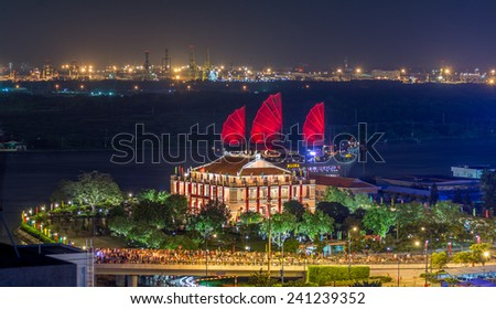 HO CHI MINH CITY / VIETNAM - SEPTEMBER 02, 2014 : : Aerial night view of Dragon House Wharf ( Ben Nha Rong ) or Ho Chi Minh Museum at the junction of the Ben Nghe Canal and the Saigon River, Vietnam - stock photo