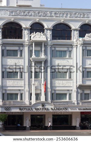 Ho Chi Minh City, Vietnam-30th Oct 2013: A man walks past the Royal Hotel.The hotel is owned by the Nikko INternational group. - stock photo