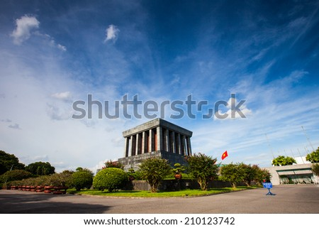 Ho Chi Minh mausoleum in Hanoi, Vietnam - stock photo