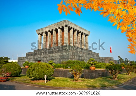 Ho Chi Minh Mausoleum in Hanoi, Vietnam. - stock photo