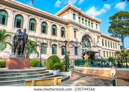HO CHI MINH, VIETNAM - APRIL 10 : Central Post Office in Ho Chi Minh City (Saigon), Vietnam on April 10, 2014. Built in French domination and designed by Gustave Eiffel. - stock photo