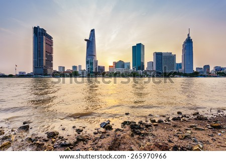 HO CHI MINH, VIETNAM - APRIL 02, 2015. Downtown Saigon in sunset (view from Thu Thiem district), Ho Chi Minh city, Vietnam. Ho Chi Minh city is the biggest city in Vietnam. - stock photo