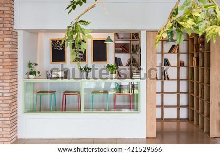 Ho Chi Minh, Vietnam - April 16, 2015: Interior design for a coffee shop in Ho Chi Minh City, Vietnam. - stock photo