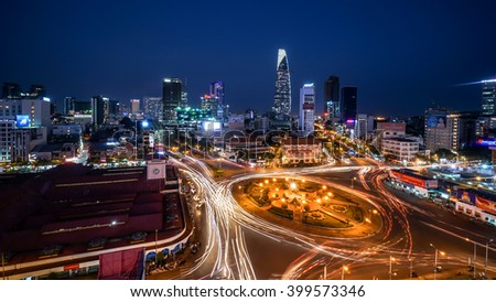 HO CHI MINH, VIETNAM - December 10, 2015 Ben Thanh Market and Quach Thi Trang park in Ho Chi Minh city, in evening, Vietnam on December 10, 2015. Ho Chi Minh city is the biggest city in Vietnam.