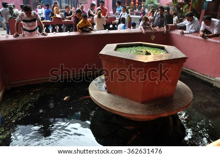 HO CHI MINH, VIETNAM - FEBRUARY 18, 2013: The Jade Emperor Pagoda, also known as Tortoise Pagoda was built by the Chinese Tao community in 1909 - stock photo