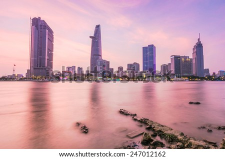 HO CHI MINH, VIETNAM - JANUARY 25, 2015 : Enjoy the sunset from the other side Saigon Ben Nghe canal in Ho Chi Minh City (Saigon). - stock photo