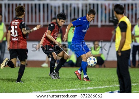 HO CHI MINH-VIETNAM JANUARY23:Nguyen Anh Duc (blue) of Binh Duong in action during The SCG Muangthong Utd Asean Tour 2016 Binh Duong and Muangthong Utd at Thong Nhat Stadium on Jan23,2016 in Vietnam