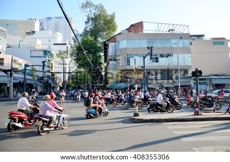 HO CHI MINH, VIETNAM - JANUARY 22 : View cityscape and traffic of Saigon city in morning time on January 22, 2016 in Ho Chi Minh, Vietnam - stock photo