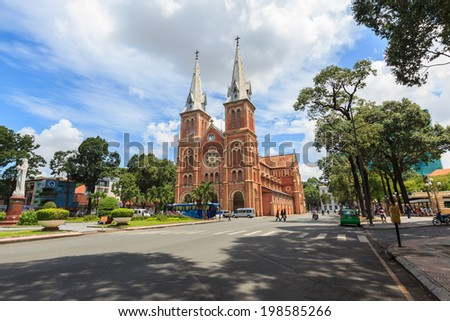 HO CHI MINH, VIETNAM - June 6, 2014: Notre Dame cathedral ( Duc Ba Church ), is a cathedral located in the downtown of Ho Chi Minh City.  - stock photo