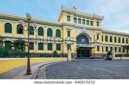 Ho Chi Minh, Vietnam - June 19, 2016: Saigon Central Post Office. Steel structure of the gothic building was designed by Gustave Eiffel. This place is one of the most attractive place for tourism.