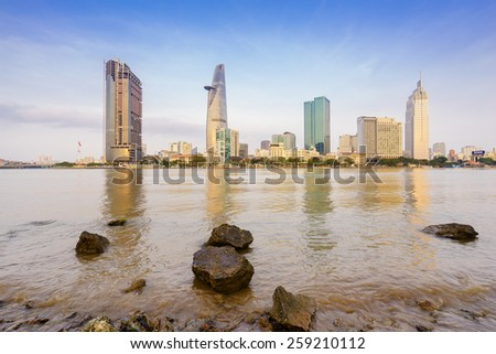 HO CHI MINH, VIETNAM - MARCH 07, 2015. Saigon Riverside (view from Thu Thiem), Ho Chi Minh City in the early morning. Ho Chi Minh city is the biggest city in Vietnam - stock photo