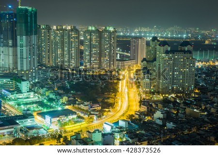 Ho Chi Minh, Vietnam - May 20, 2016: City Skyline of Ho Chi Minh City, Vietnam by night. This is the most developing area with many office buildings and high standard apartment in progress.