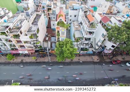 Ho Chi Minh, Vietnam - 30 Oct 2014: Ho Chi Minh city (or Saigon) skyline, Vietnam. Ho Chi Minh city is the biggest city in Vietnam. - stock photo