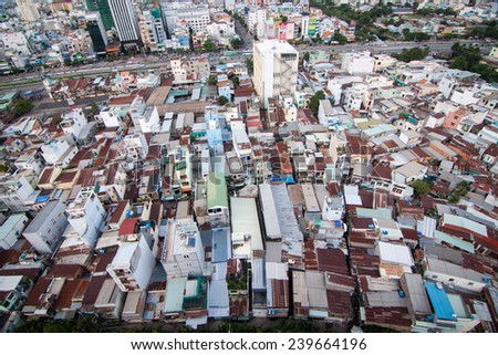 Ho Chi Minh, Vietnam - 18 Oct 2014: Ho Chi Minh city (or Saigon) skyline, Vietnam. Ho Chi Minh city is the biggest city in Vietnam. - stock photo