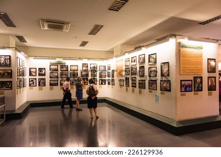 HO CHI MINH, VIETNAM - OCT 4, 2014: Interior of the Vietnamese War Remnants Museum. It contains exhibits relating to the American phase of the Vietnam War