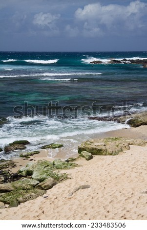 Ho'Okipa Beach on Maui's North Shore. - stock photo
