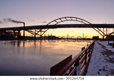 Hoan Bridge in Milwaukee, Wisconsin After Sunset - stock photo