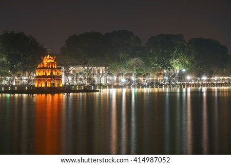 Hoan Kiem Lake ( Lake of the Returned Sword ), TheTurtle Tower in  the lake, the centre of Hanoi, Vietnam  [ Long Exposure ]