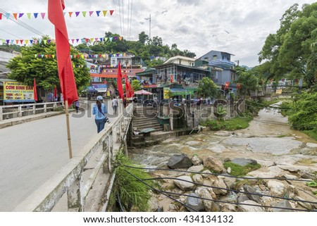 Hoang Su Phi, Vietnam - September 18, 2015: The quiet road in Vinh Quang Town in Hoang Su Phi province during the trip to the city of Ha Giang North Vietnam.