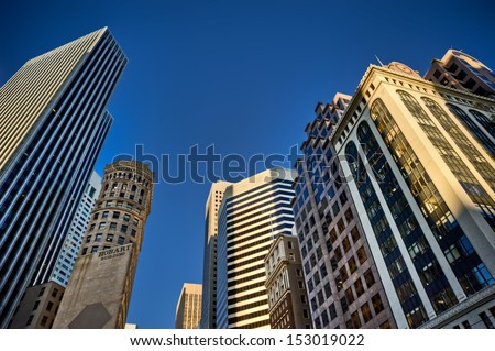 hobart building street canyon san francisco - stock photo
