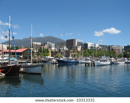 Hobart Harbour in December 2008 - stock photo