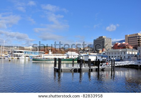 Hobart Harbour on a Clear Winter Day - stock photo