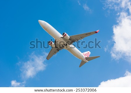 HOBART, TASMANIA/AUSTRALIA, FEBRUARY 16TH: Image of a Virgin Australia passenger airliner taking off from Hobart Airport on 16th February, 2015 in Hobart