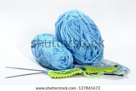 Hobbies thread balls knitting needles needlework Clothing - stock photo