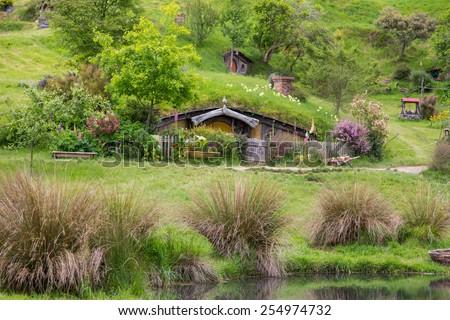 Hobbiton Movie set, Matamata, North Island, New Zealand - stock photo