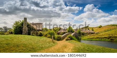 Hobbiton, Shire, New Zealand - stock photo