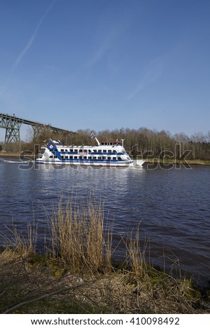 HOCHDONN, GERMANY - APRIL, 2. The passenger ship Adler Princess at the Kiel Canal near Hochdonn (Germany, Schleswig Holstein) on April 2, 2016.