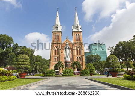 HOCHIMINH CITY, VIETNAM - AUG 02: Notre Dame cathedral in Ho Chi Minh City ( Nha Tho Duc Ba ), Vietnam on Aug 02 , 2014. Built in French domination ( 1880) and designed by architecter J. Bourard. - stock photo