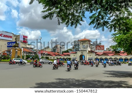HOCHIMINH CITY,VIETNAM- AUGUST 16: Ben Thanh market at Quach Thi Trang park in Hochiminh city,Vietnam on August 16, 2013. Ben Thanh market built in French domination and the symbol of Hochiminh city.  - stock photo