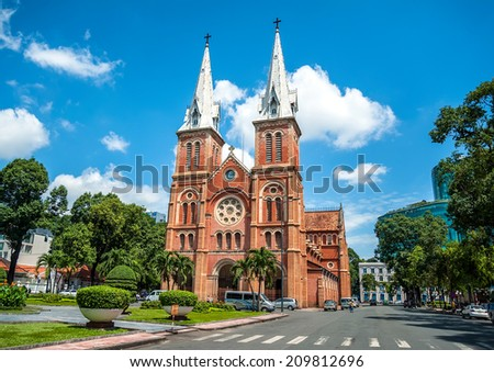 HOCHIMINH CITY, VIETNAM - AUGUST 7: Notre Dame cathedral in Ho Chi Minh City, Vietnam on August 7, 2014. Built in French domination ( 1880) and designed by architecter J. Bourard. - stock photo