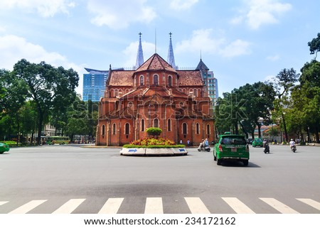 HOCHIMINH city, VIETNAM - AUGUST 07, 2013: The Notre-Dame Cathedral of Saigon in Ho Chi Minh City, Vietnam viewed from behind.