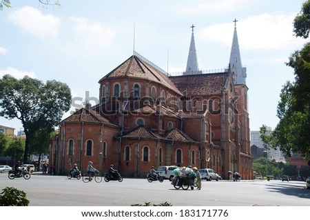 HOCHIMINH CITY, VIETNAM - NOVEMBER 17: Notre Dame cathedral in Ho Chi Minh City, Vietnam on November 17, 2013. Built in French domination ( 1880) and designed by architecter J. Bourard. - stock photo