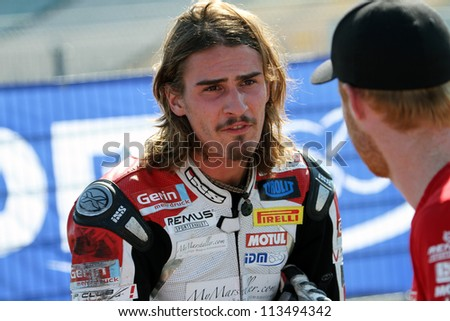HOCKENHEIM - GERMANY, SEPTEMBER 16: German Yamaha rider Gabriel Laeuger after the second IDM German Championship Supersport race at Hockenheim circuit on September 16, 2012