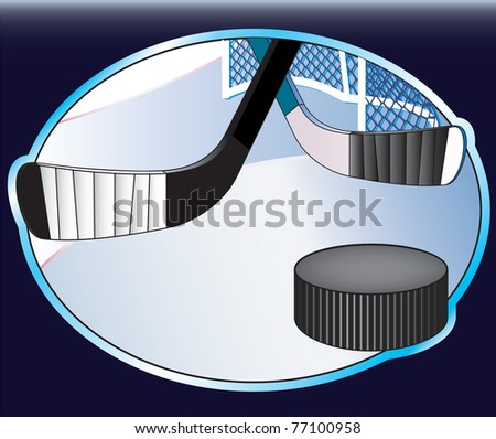 Hockey background with puck. - stock photo