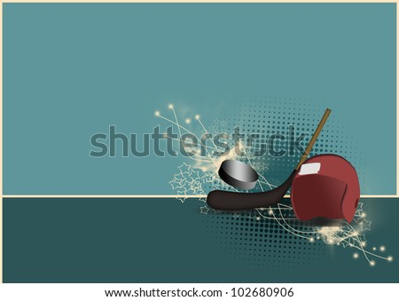 Hockey background with space (poster, web, leaflet, magazine) - stock photo