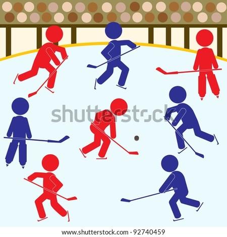 Hockey Game Icons - stock photo