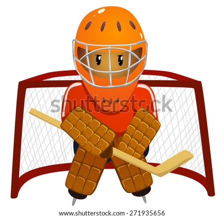 Hockey goalkeeper in helmet and gate - stock photo
