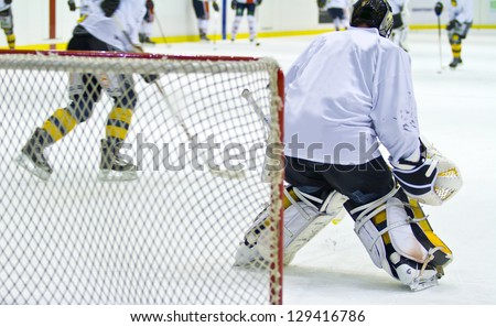 hockey player during a game - stock photo