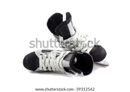 Hockey player ice skates isolated on white. - stock photo