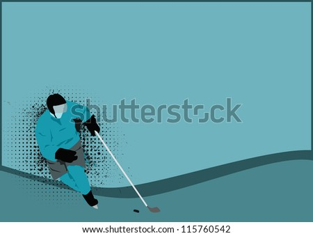 Hockey poster: player on ice background with space