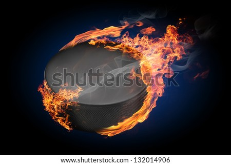 Hockey puck on fire flying down - illustration - stock photo