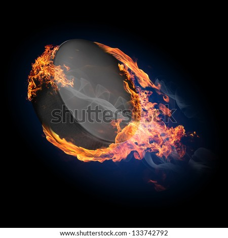 Hockey puck on fire flying up - illustration - stock photo